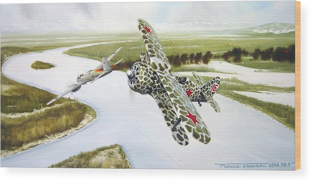Aviation Wood Print featuring the painting Russian Roulette by Marc Stewart