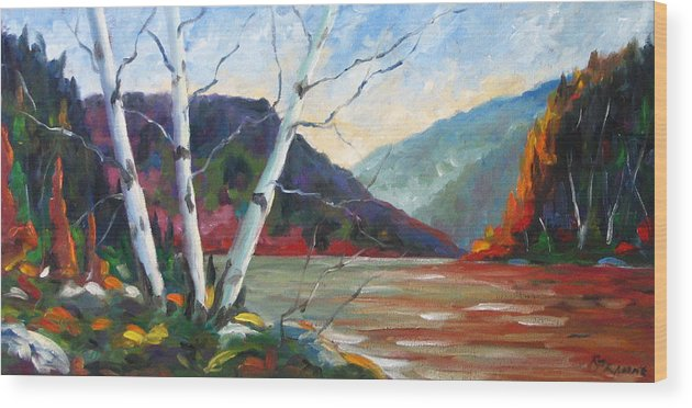 Landscape; Landscapes/scenic; Birches;sun;lake;pranke Wood Print featuring the painting Sunset On The Lake by Richard T Pranke