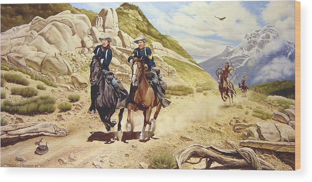 Western Wood Print featuring the painting The Chase by Marc Stewart