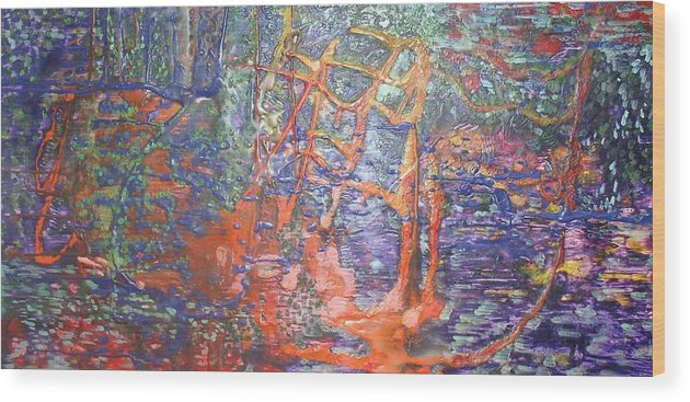 Abstract Wood Print featuring the painting The Hidden Playground by Heather Hennick