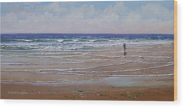 Seascape Wood Print featuring the painting The Shell Collector by Frank Wilson