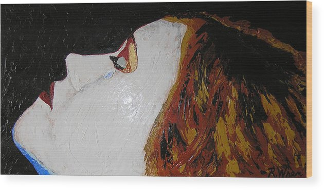 Portrait Wood Print featuring the painting The Tear by Ricklene Wren