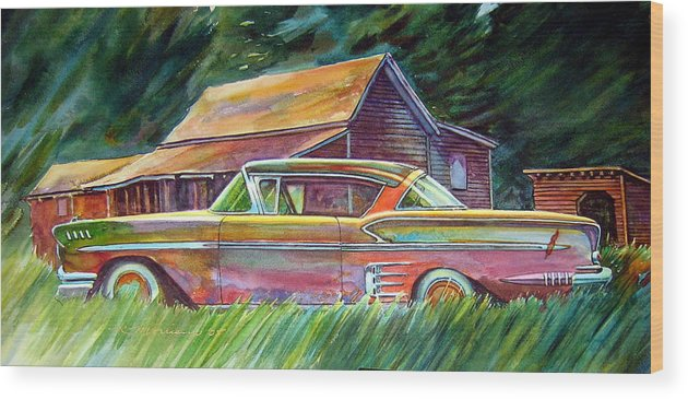 Rusty Car Chev Impala Wood Print featuring the painting This Impala Doesn by Ron Morrison