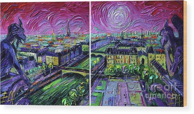 Paris Gargoyle Wood Print featuring the painting Paris View With Gargoyles - Textural Impressionist Diptych Oil Painting Mona Edulesco  by Mona Edulesco