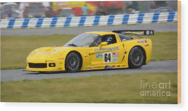 Automobile Wood Print featuring the photograph Corvette Gt1 C6 Race Car by Tad Gage