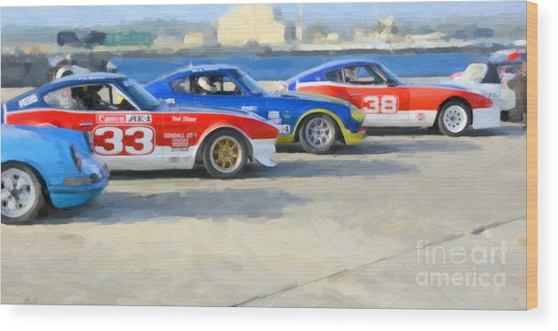 Automobile Wood Print featuring the photograph Datsun Z Racers At Sebring by Tad Gage