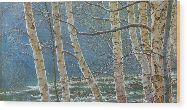Birches Wood Print featuring the painting Winter Is Over by Olena Lopatina