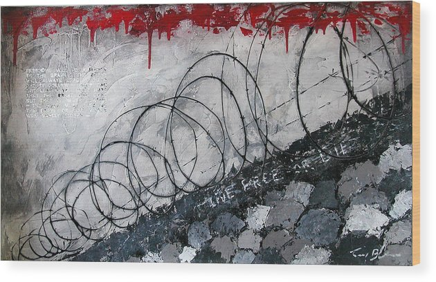 Abstract Expressionism Wood Print featuring the painting Freedom - Award To The Brave by Tony A Blue