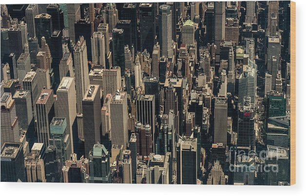 Midtown Wood Print featuring the photograph Midtown Manhattan Skyline Aerial by David Oppenheimer