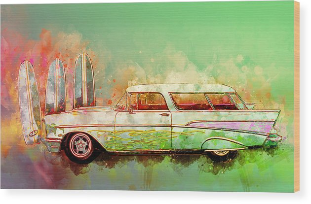 1957 Wood Print featuring the digital art 57 Chevy Nomad Wagon Blowing Beach Sand by Chas Sinklier