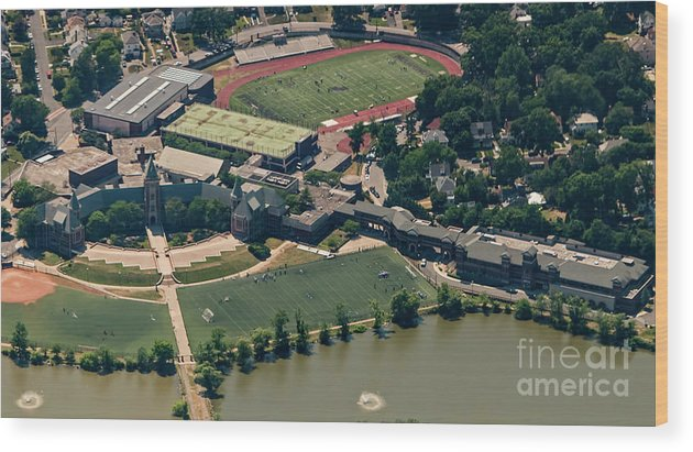 New Rochelle Wood Print featuring the photograph New Rochelle High School Aerial Photo by David Oppenheimer