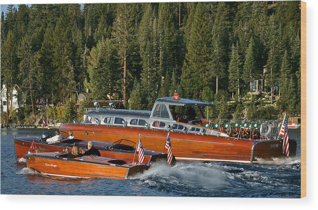 Skiff Wood Print featuring the photograph Wooden Runabouts Of Tahoe by Steven Lapkin
