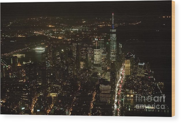 Skyscrapers Wood Print featuring the photograph Skyline Of New York City - Lower Manhattan Night Aerial by David Oppenheimer