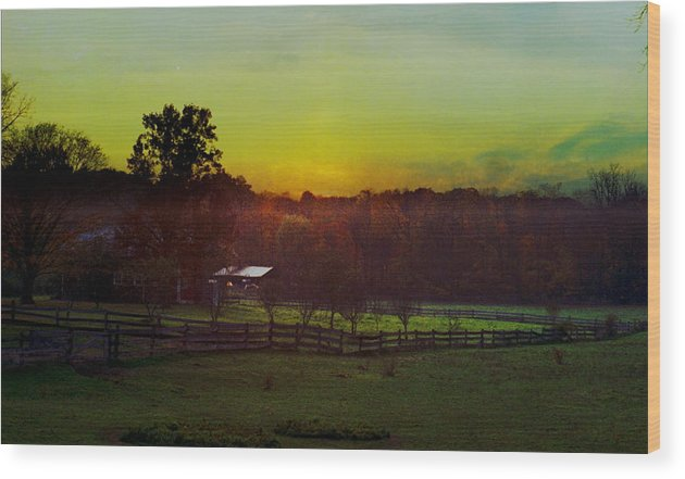Sunrise Wood Print featuring the photograph 101908-1 by Mike Davis