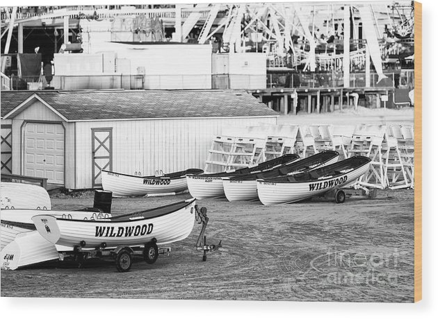 Wildwood Rescue Boats Wood Print featuring the photograph Wildwood Rescue Boats by John Rizzuto