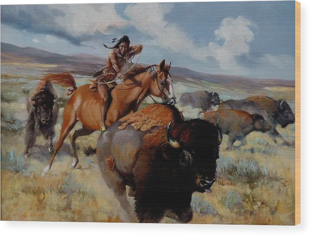 Buffalo Wood Print featuring the painting Tatanka by Les LeFevre