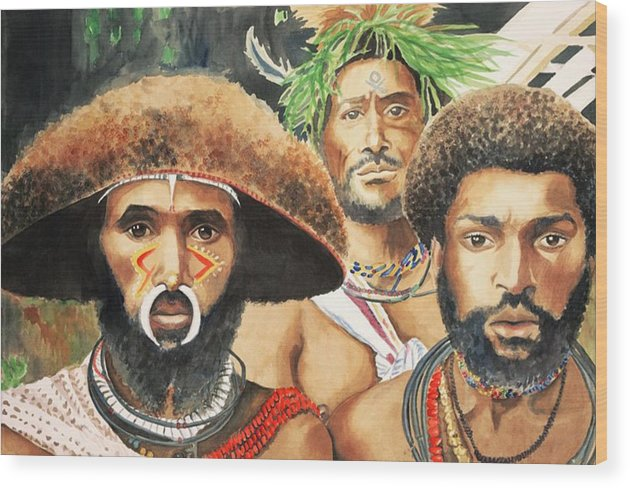 Papua Wood Print featuring the painting Men From New Guinea by Judy Swerlick