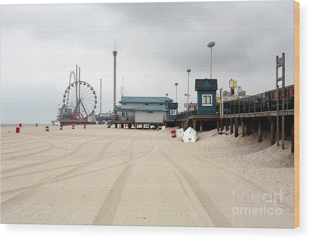 Morning At Seaside Heights Wood Print featuring the photograph Morning At Seaside Heights by John Rizzuto
