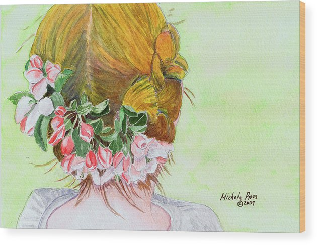 Watercolor Wood Print featuring the painting Red Hair And Apple Blossoms by Michele Ross