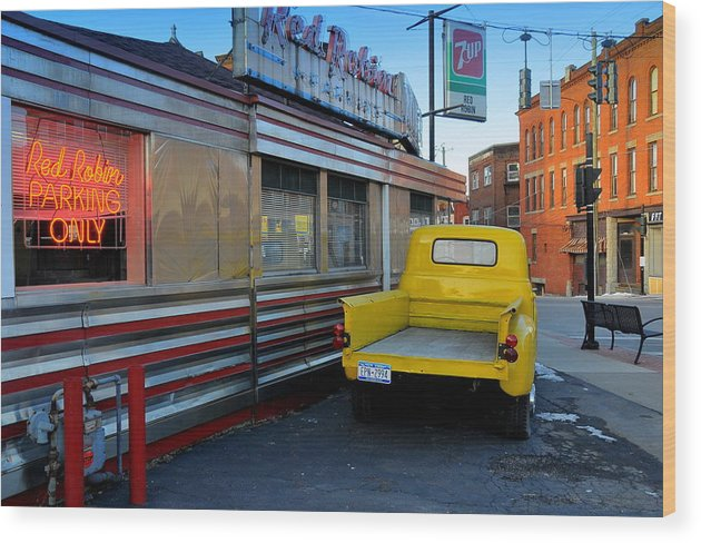 Street Scene Wood Print featuring the photograph Yellow Truck by Randy Cummings