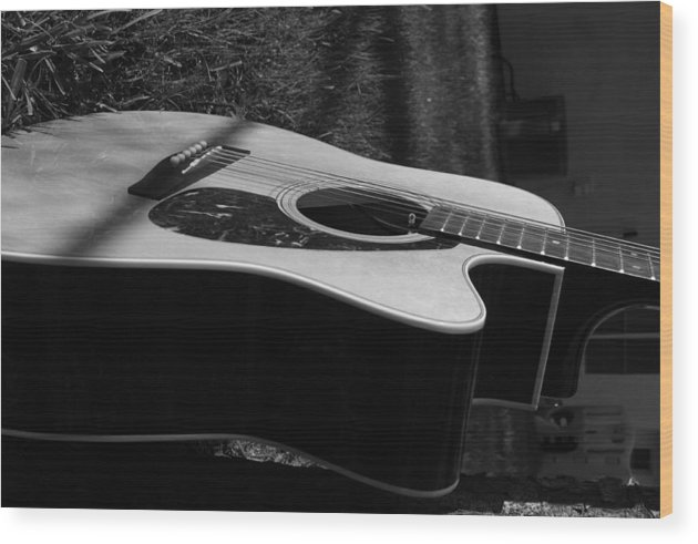 Guitar Wood Print featuring the photograph Acoustic Guitar by Diego Salisbury