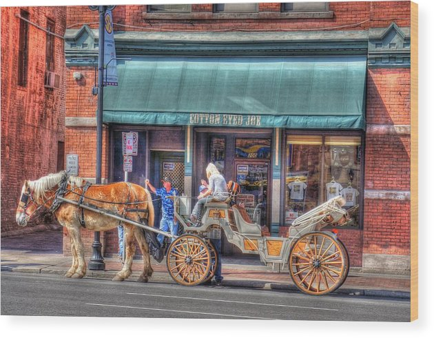Horse Wood Print featuring the digital art Down Town Nashville by Jim Percival
