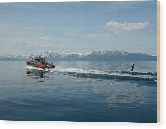 Water Wood Print featuring the photograph Lake Tahoe Waterskiing by Steven Lapkin