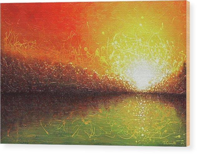 Landscape Wood Print featuring the painting Bursting Sun by Jaison Cianelli