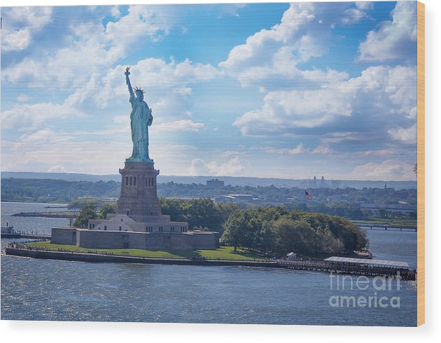 Wood Print featuring the photograph Lady Liberty Ny Harbor by Daniel Krieger