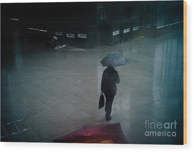 Tags Wood Print featuring the pyrography Rainy Whether In London. by Cyril Jayant