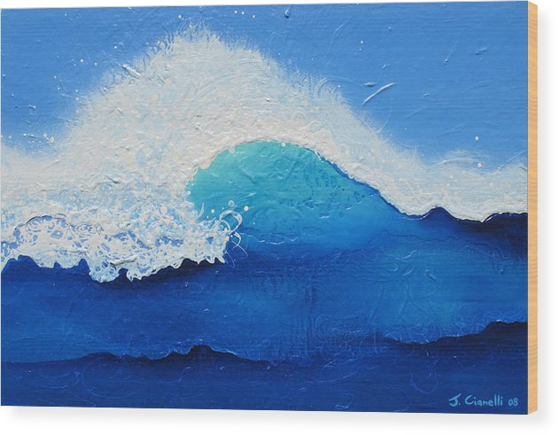 Contemporary Wood Print featuring the painting Spiral Wave by Jaison Cianelli