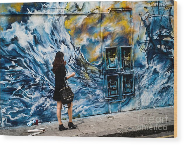 Brick Lane London Wood Print featuring the pyrography Walking Through The Waves . by Cyril Jayant