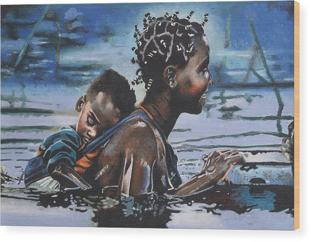 Black Art Wood Print featuring the painting Young Mother And Child by Andre Ajibade