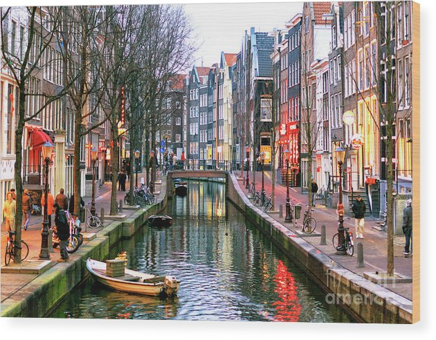 Amsterdam Red Light District Days Wood Print featuring the photograph Amsterdam Red Light District Days by John Rizzuto