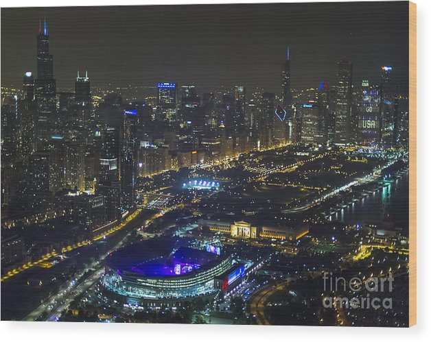 Grateful Dead Wood Print featuring the photograph The Grateful Dead At Soldier Field Aerial Photo by David Oppenheimer