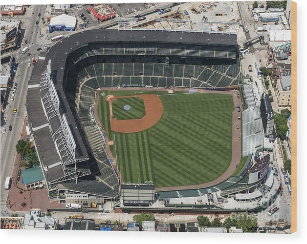 Wrigley Field Wood Print featuring the photograph Wrigley Field In Chicago Aerial Photo by David Oppenheimer