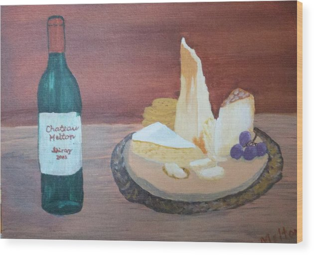 Wine Wood Print featuring the painting Sunday Brunch by Linda Melton