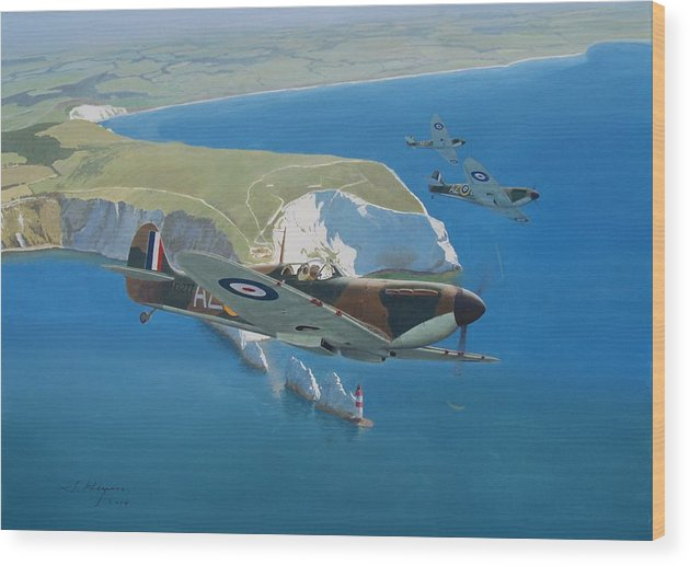 Spitfire Wood Print featuring the painting The Welcome Calm by Steven Heyen