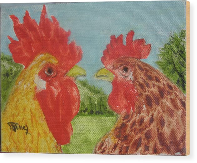 Chiken Wood Print featuring the painting Marriage by Fernando Armel