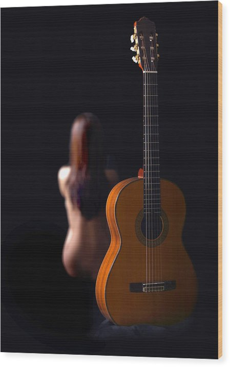 Nude Wood Print featuring the photograph Lady And Guitar by Dario Infini