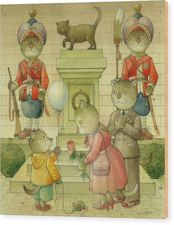 Cat Animals Monument Patriotism Bengal Soldier Wood Print featuring the painting National Monument by Kestutis Kasparavicius