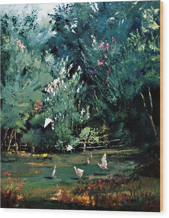 Landscape Wood Print featuring the painting The Egrets Have Landed by Jimmie Trotter