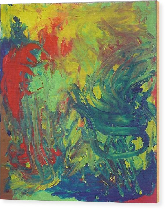 Abstract Wood Print featuring the painting Diablo Garden by Richard OBrien