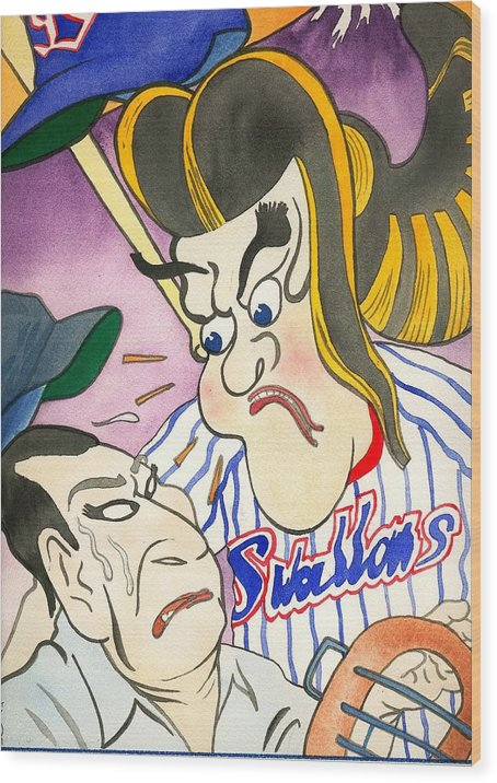 Japan Wood Print featuring the painting Nippon Baseball by Robert Myers