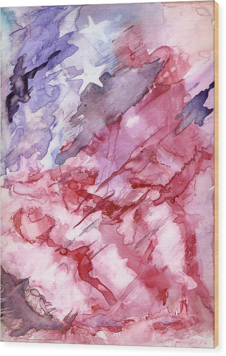 Flag Wood Print featuring the painting Old Glory by Roger Parnow