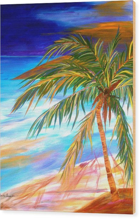 Landscape Wood Print featuring the painting Palma Tropical II by Maritza Bermudez