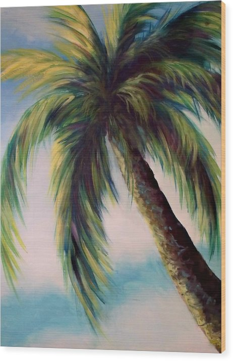 Palm Tree Wood Print featuring the painting Sunlit Palm by Joann Shular