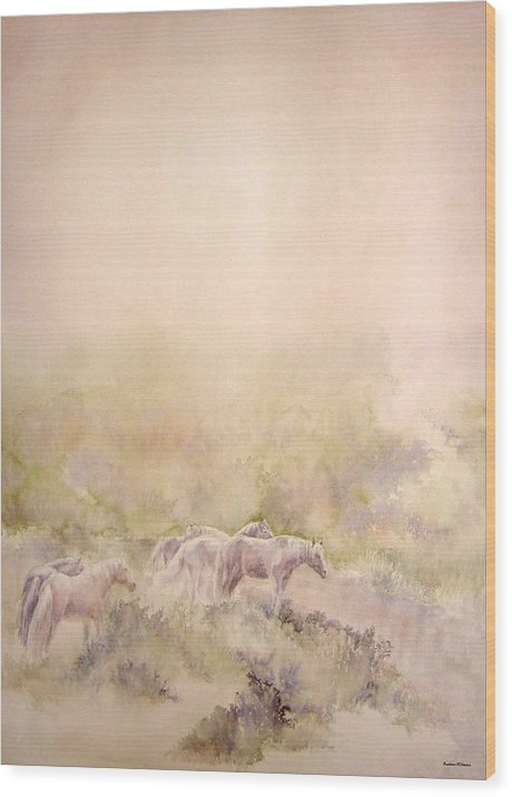 Horses Wood Print featuring the painting Assateague Ponies by Barbara Widmann