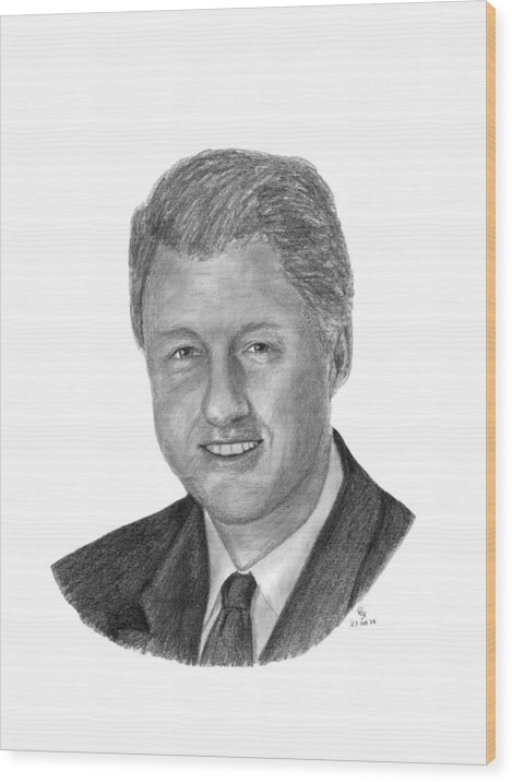 Clinton Wood Print featuring the drawing President Bill Clinton by Charles Vogan