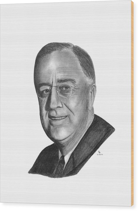 President Wood Print featuring the drawing President Franklin Roosevelt by Charles Vogan